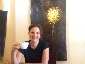 Heather Flournoy Drinking Organic, Fair-Trade Americano